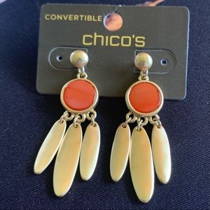 NWT Chico's Mila Gold and Tangerine Earrings